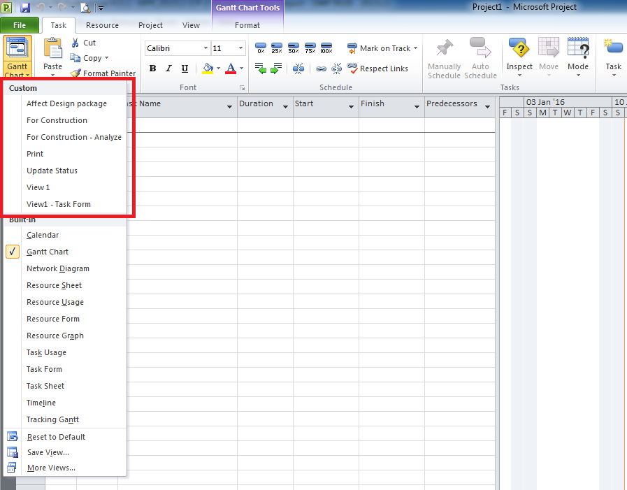 Microsoft Project : Custom View (New view) appear in all Project