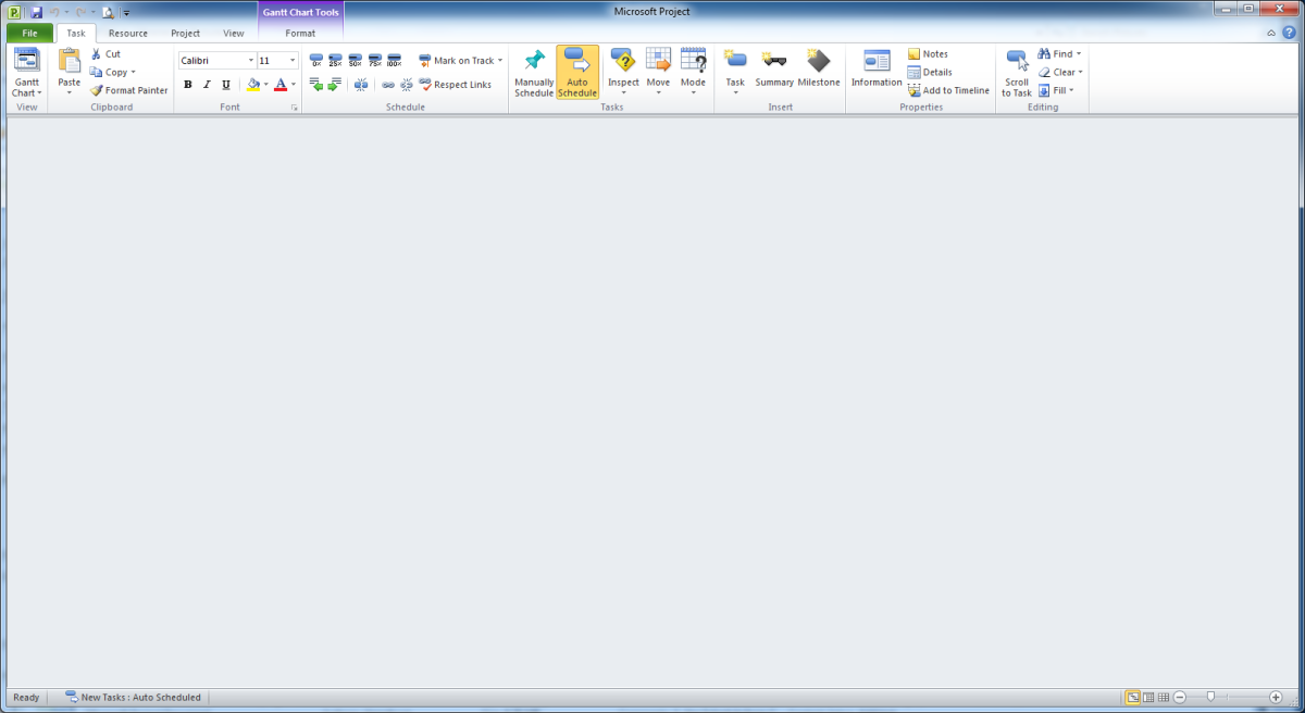 Open Microsoft Project file and a blank screen appear