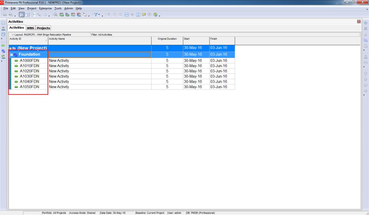 How to modify Activity ID Suffix in PrimaveraP6