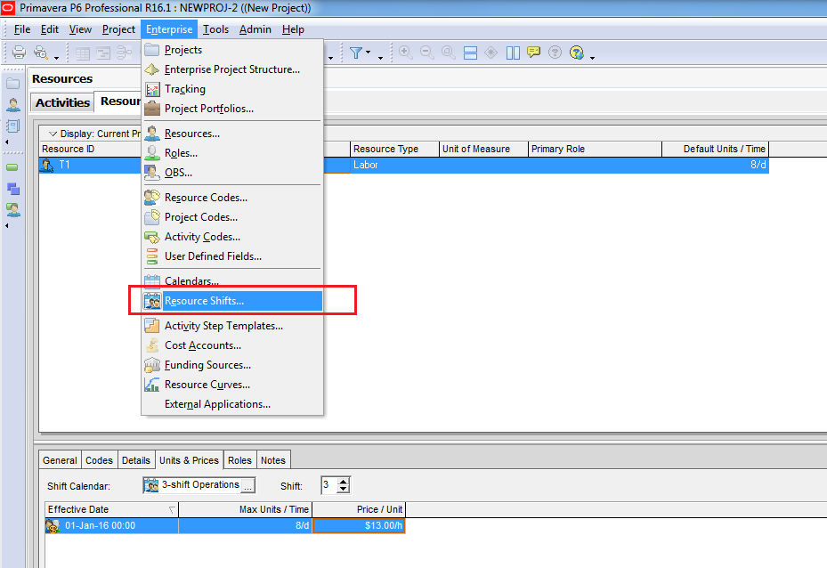 How does Resource Shift Calendar in Primavera P6 work - 6