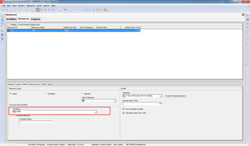 What is the Resource Currency selection in Primavera P6 used for - 1