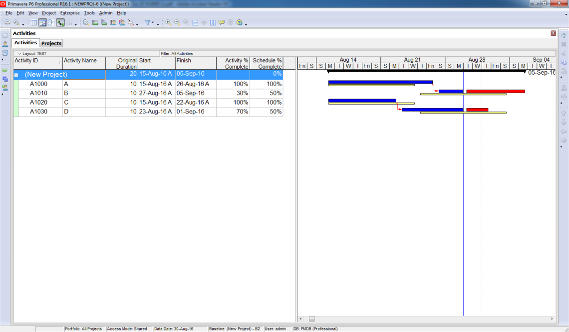 Compare Actual Progress with Baseline on Gantt chart in Primavera P6 - 1