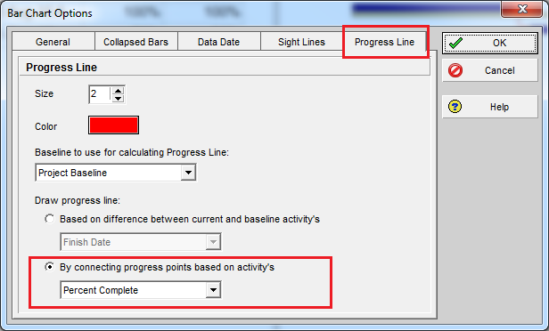 Compare Actual Progress with Baseline on Gantt chart in Primavera P6 - 3
