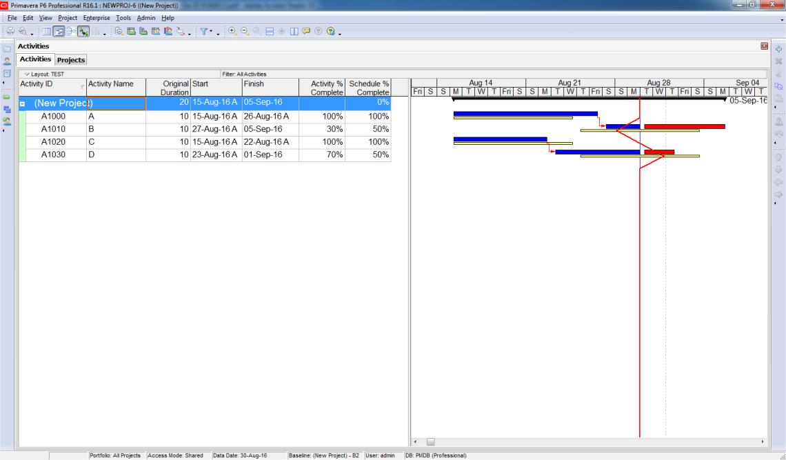 Compare Actual Progress with Baseline on Gantt chart in Primavera P6 - 5