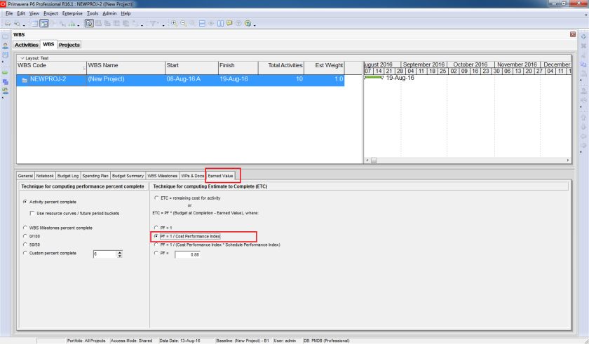 How to use Earned Value Management in Primavera P6 - 10