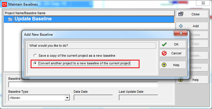 How to update Baseline in Primavera P6 - 10
