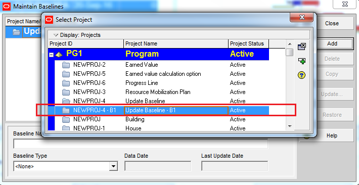 How to update Baseline in Primavera P6 - 11