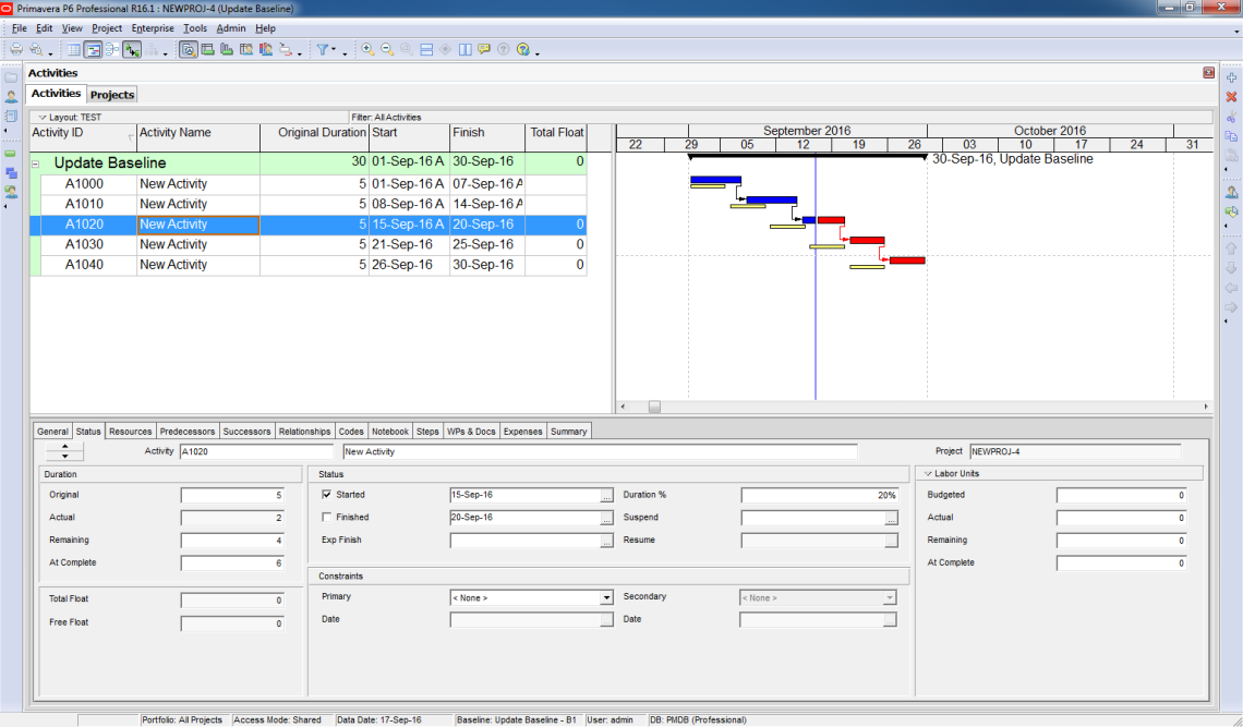 How to update Baseline in Primavera P6 - 2