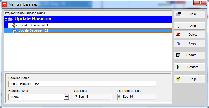 How to update Baseline in Primavera P6 - 4
