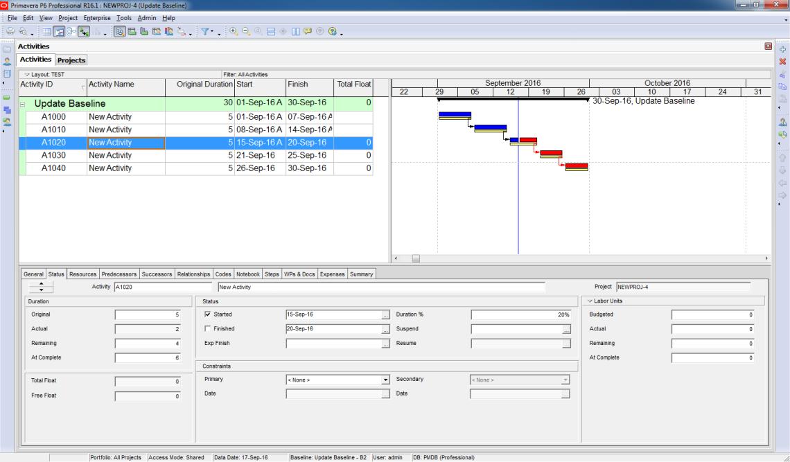 How to update Baseline in Primavera P6 - 6