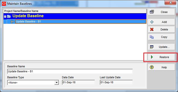 How to update Baseline in Primavera P6 - 8