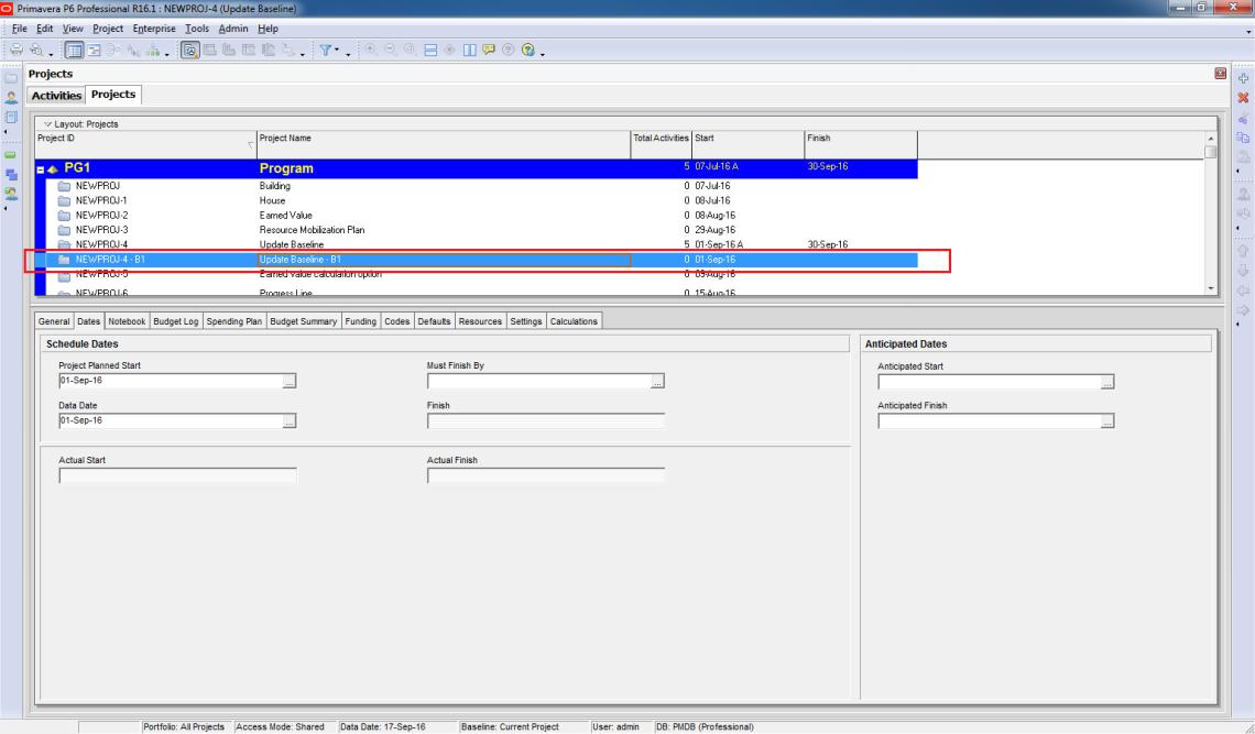 How to update Baseline in Primavera P6 - 9