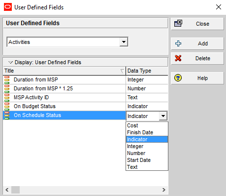 How to quickly identify Behind Schedule and Over Budget activity by Indicator UDF in Primavera P6-3