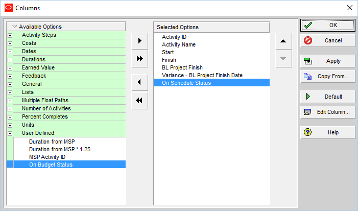 How to quickly identify Behind Schedule and Over Budget activity by Indicator UDF in Primavera P6-7
