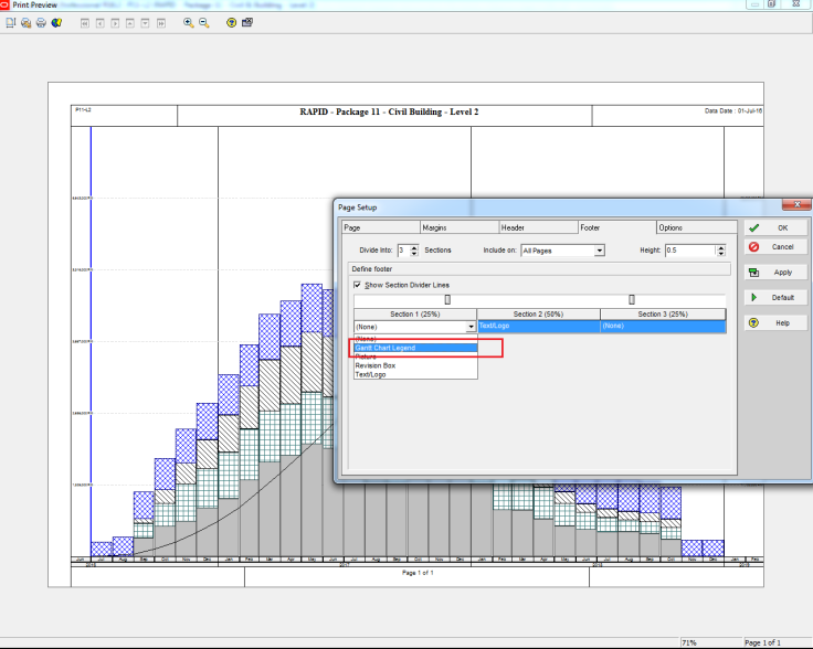 How to Print the Legend for Stacked Histogram in Resource Usage Profile in Primavera P6-6