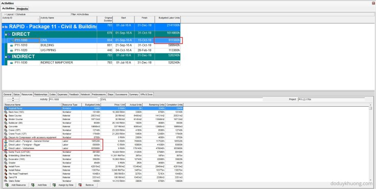 Which Fields can be imported into Primavera P6 from Excel (XLS) Spreadsheet-2