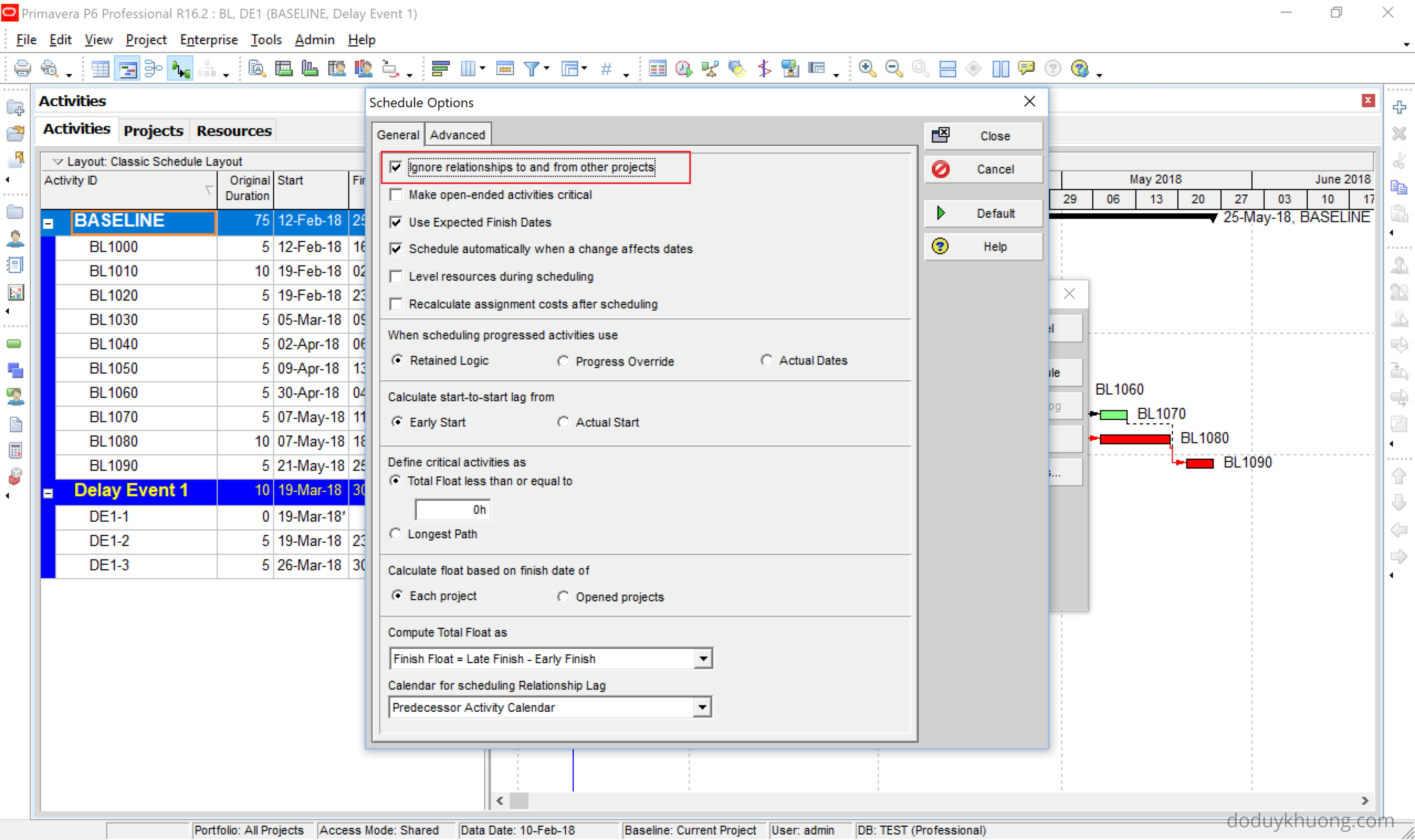 Impacted As-Planned Delay Analysis - Using Primavera P6 to see combined, consolidated effect from some or all delay event-3