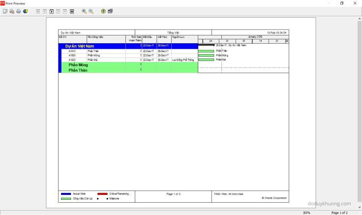 Primavera P6 Professional version 16.2.11 fully support Vietnamese using Unicode character set. Phần mềm Primavera P6 version 16.2.11 đã hỗ trợ đầy đủ Tiếng Việt Unic