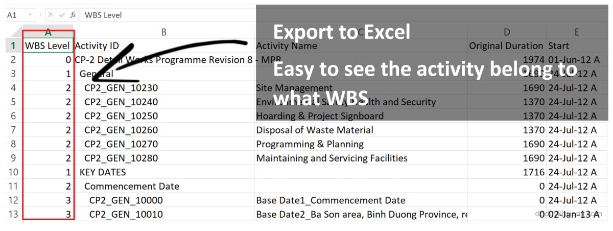Primavera P6 export to Excel. How to identify WBS level for activity