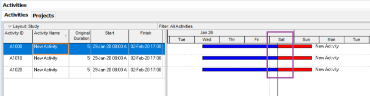How to remove the gap between actual bar and remaining bar in schedule update in Primavera P6-4